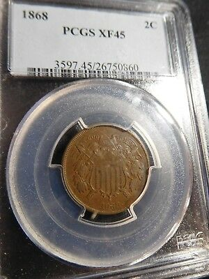 L62 USA 1868 Shield 2 Cent PCGS XF-45