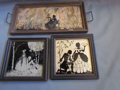 Antique Glass Silhouettes Total of 3