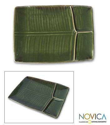 Ceramic Serving Platter Stoneware Rectangular Green 'Square Leaf' NOVICA Bali