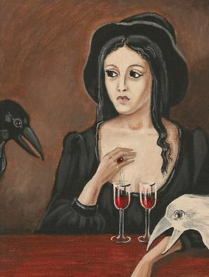 1.5x2 DOLLHOUSE MINIATURE PRINT OF PAINTING RYTA 1:12 SCALE HALLOWEEN WITCH WINE