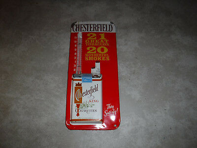 Vintage Chesterfield Cigarettes Tobacco Tin Metal Sign Thermometer Made In Usa