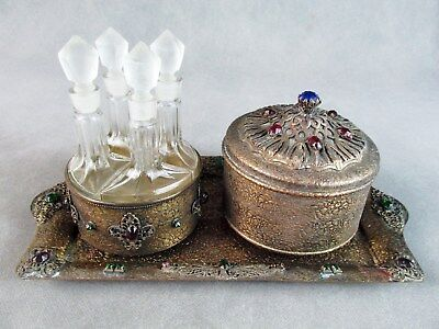 c1920 Czech VANITY SET Embossed Brass JEWELED 4 Pc Perfume, Powder Box, Tray