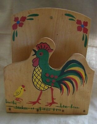 ca 1950's Vtg Chicken & Chick Motif Wooden Wall Mount Napkin Holder Japan