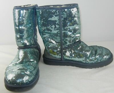Ugg Australia Womens Teal Sparkle Sequin Classic Short Boot SZ 8