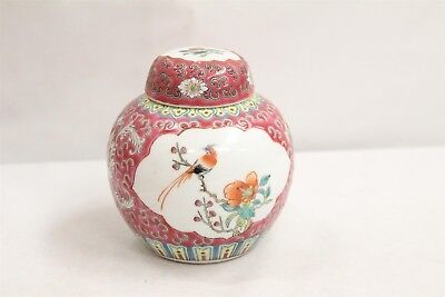 Chinese Porcelain 2 Panel Birds Roses Pink Lidded Ginger Tea Jar Signed
