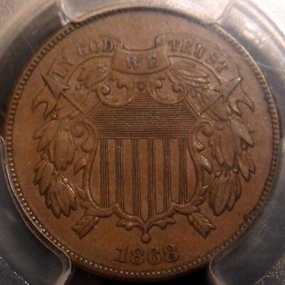 1868 Two Cent Piece, Awesome Detail, Pcgs Au53
