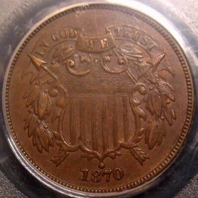 1870 Two Cent Piece, Awesome Detail, Pcgs Au58 With Cac Label