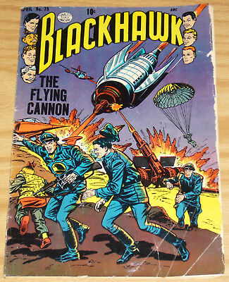 Blackhawk #75 FAIR april 1954 - 1st appearance of Blackie the Hawk - golden age