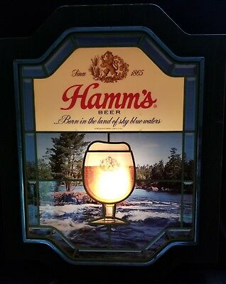 Vtg 1970's HAMM'S BEER SIGN Faux STAIN GLASS Bar Wall LIGHT Works! hamms olympia