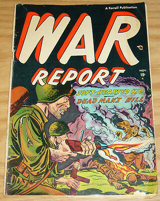 War Report #2 GD november 1952 - graphic flamethrower cover art - golden age