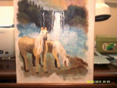 Two Palomino Horse Painting By The Waterfalls.  Original + Signed