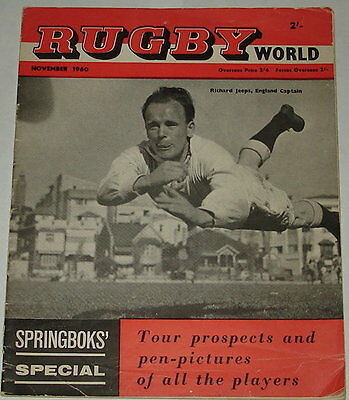 Rugby World Magazine November 1960 Springbok Pen Pictures Profile Jeeps
