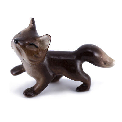 Hagen Renaker Baby Fox #157 Glossy Smaller Brown Miniature Ceramic Figurine