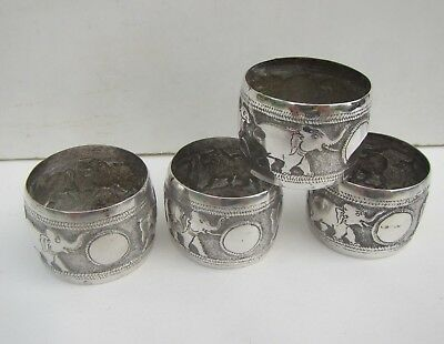 Old Set of 4 Solid Silver Indian Elephant & Animals Napkin Rings