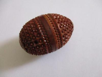 Treen, small coquilla nut holder box, for thimble or wax
