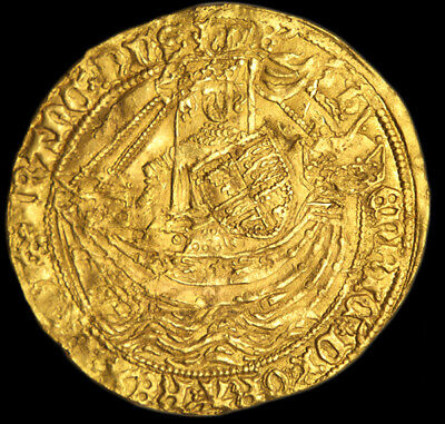 KING HENRY  VI 1422-1461 GOLD NOBLE Obverse of Henry in ship holding shield...