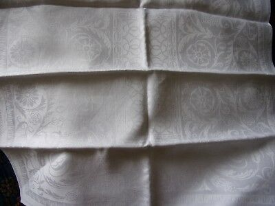 4 linen patterned damask  napkins in beautiful condition 20 inches square
