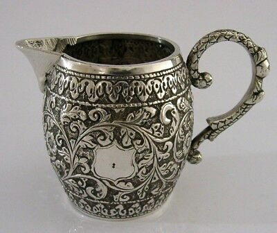 BEAUTIFUL SOLID SILVER INDIAN CREAM c1890 ANTIQUE HEAVY 105g