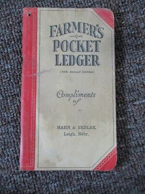 "1940-41 JOHN DEERE ""Farmer's Pocket Ledger"" ....Leigh, Nebraska"