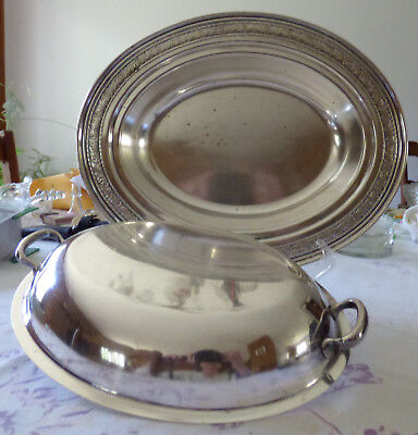VINTAGE SILVERPLATE ENTRÉE SERVING DISH with LID COVER SILVER PLATE