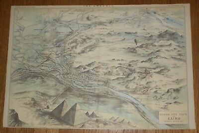 1882 Antique Map  Bird's-Eye View of Cairo Egypt with Pyramids & Hot Air Balloon
