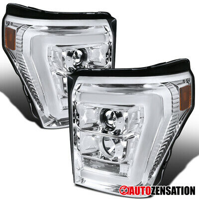 11-16 Ford F250/350/450/550 Super Duty Clear LED DRL Projector Headlights Pair