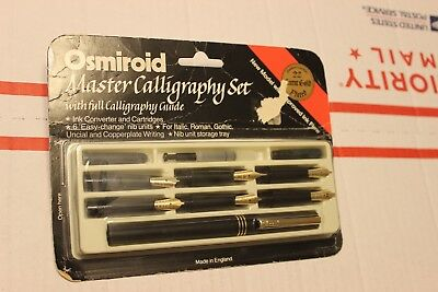 Vintage Osmiroid Master Calligraphy Set 6 Nibs 22 Carat Gold Plated ,NEW