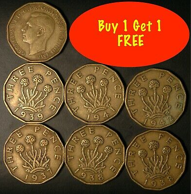 Threepence George VI 1937 -1952 Brass Choose your Dates