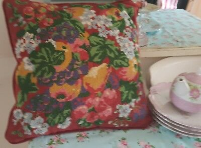 Vintage hand embroidered tapestry cushion floral &fruits cushion.country house