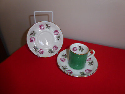 1 X  Green ~ Rose  ~ Crown Staffordshire Fine Bone China ~ Coffee Can & Saucers