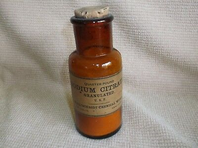 antique amber glass pharmacy bottle w/ label + contents, SODIUM CITRATE, gout
