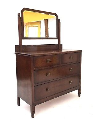 Antique Early 20th Century Oak Arts & Crafts Chest of Drawers Mirrored Dresser