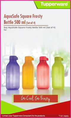 Tupperware 500ML ECO Aquasafe Square Flip Top Water bottles ALL COLOURS Set Of 4