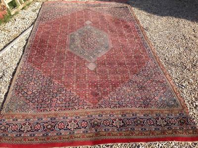 Large Antique Persian Rug 11.5ft x6ft Islamic Carpet Hand Woven Wool Rustic Chic