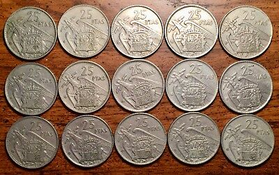 1957 (58)- 1957 (64) Spain 25 Pesetas Caudillo and Regent 15 Coin Collection