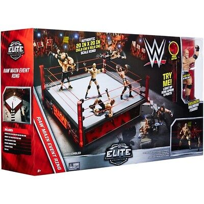 """MATTEL WWE ELITE COLLECTION AUTHENTIC 20"""" BY 20"""" SCALE RAW MAIN EVENT RING MIB"""