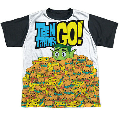 d5260762a3c2 Teen Titans Go Burgers   Dogs Big Boys Youth Sublimation Black Back Shirt  White