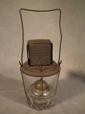 Rare Antique Embossed Tin And Glass Lantern - Oil Lamp