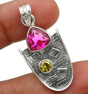 """2CT Rubellite Tourmaline 925 Solid Sterling Silver Pendant Jewelry 1 1/2"""" Long"""