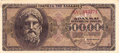 500 000 Drachmai Very Fine Banknote From German Occupied Greece 1944!pick-126
