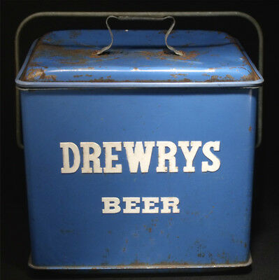 "EXCELLENT 1950's DREWRYS BEER PICNIC COOLER 16"" EMBOSSED METAL GAS OIL SIGN RARE"