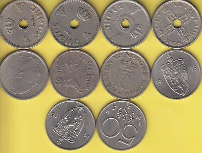 Norway  50 Ore  KM 393, 402, 408, 418  lot of 10 coins.............222