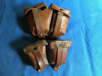 Vintage pair of Austrian M95 Steyr leather ammo pouches