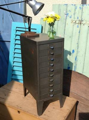 Vintage Industrial Filing Cabinet 10 Drawer Indexing Unit Steampunk Rustic Chic