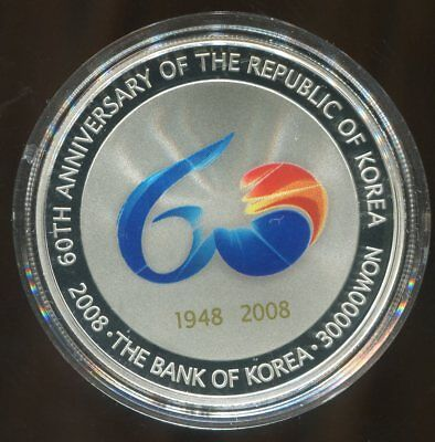 2008 Korea 30000 Won Silver 60th Anniversary Commemorative in original capsule
