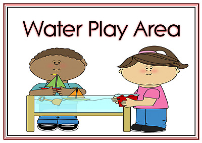 A4 Poster Sign Educational Nursery Children Kids Childminders Water Play Area
