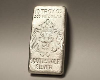 10 oz Hand Poured Scottsdale Silver Bar -Ten Troy oz .999 Silver Bullion #A199