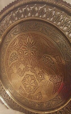 Antique Brass Persian Qajar Etched Enamelled Pierced Tray