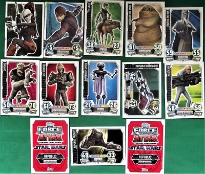 30+ Star Wars Force Attax Series 3 Trading Cards - Red Back (Animation) - Topps