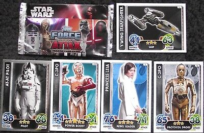 50+ Star Wars Force Attax Force Awakens Trading Cards 2016 (Grey White Border)